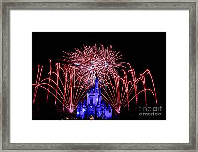 Red Disney Fireworks Framed Print by Darcy Michaelchuk