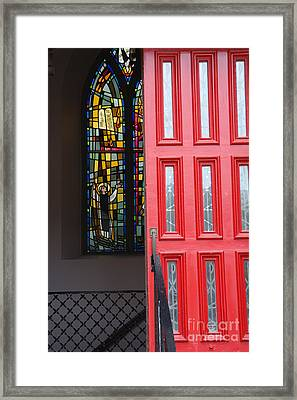 Red Door At Church In Front Of Stained Glass Framed Print by David Bearden