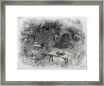 Red Door Hobbit Illustration Framed Print by Kathy Kelly