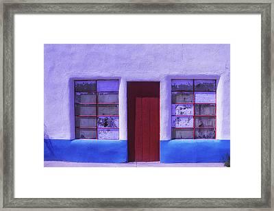 Red Door Old Building Framed Print by Garry Gay