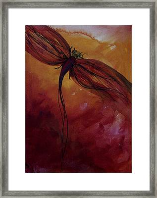 Red Dragonfly Framed Print by Julie Lueders