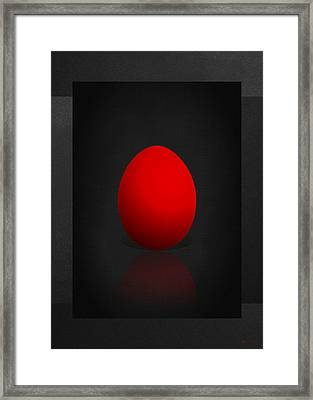 Red Egg On Black Canvas  Framed Print by Serge Averbukh