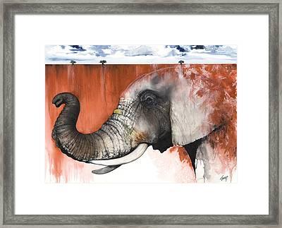 Red Elephant Framed Print by Anthony Burks Sr