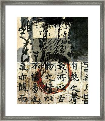 Red Enso Collage Framed Print by Carol Leigh