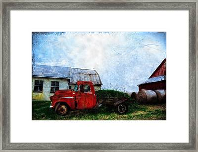 Red Farm Truck Framed Print by Bill Cannon