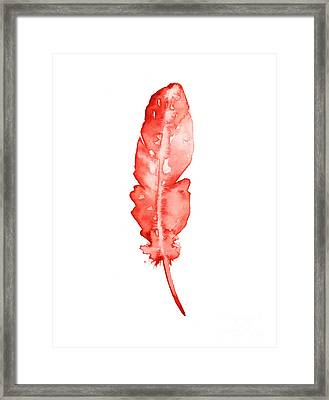 Red Feather Minimalist Painting Framed Print by Joanna Szmerdt