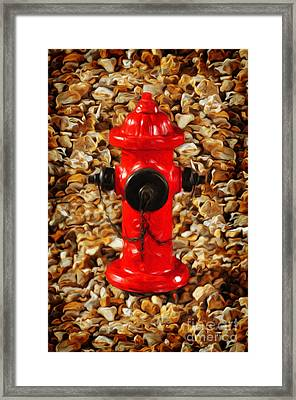 Red Fire Hydrant Framed Print by Andee Design
