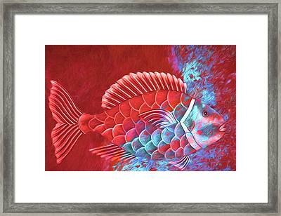 Red Fish Into The Blue Framed Print by Carol Leigh