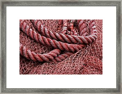 Red Fishing Net Detail Framed Print by Carol Leigh