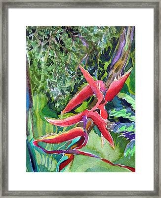 Red Flame Framed Print by Mindy Newman