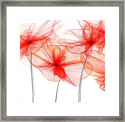 Red Floral - Red Modern Art Framed Print by Lourry Legarde