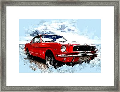 Red Ford Mustang Cobra Framed Print by Elaine Plesser