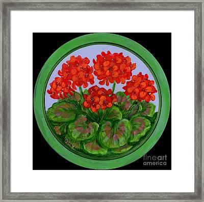 Red Geranium On Wood Framed Print by Anna Folkartanna Maciejewska-Dyba