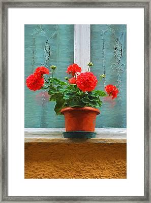 Red Geraniums Framed Print by Allen Beatty