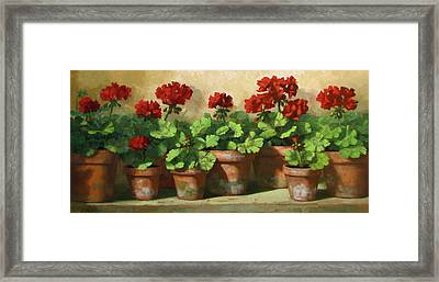 Red Geraniums Framed Print by Linda Jacobus