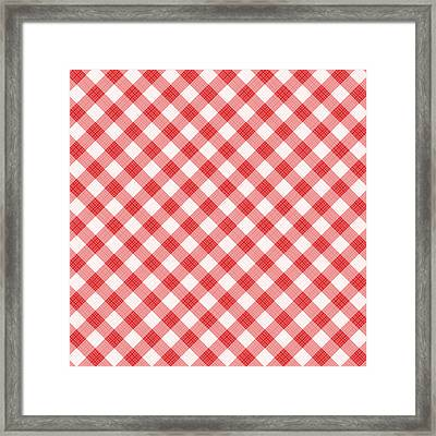 Red Gingham Fabric Cloth Framed Print by Natalia Ratselmeister