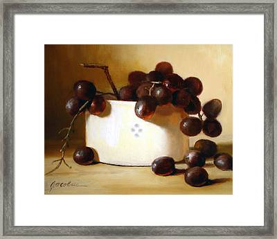 Red Grapes Framed Print by Linda Jacobus