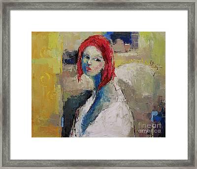 Red Haired Girl Framed Print by Becky Kim