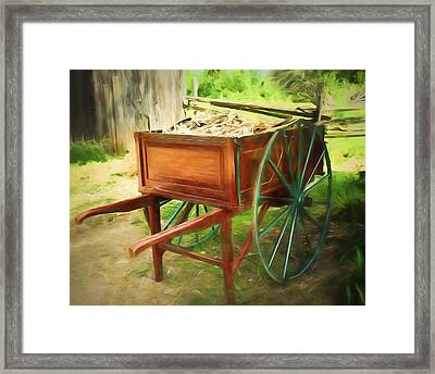 Red Hand Cart Framed Print by Chris Bordeleau
