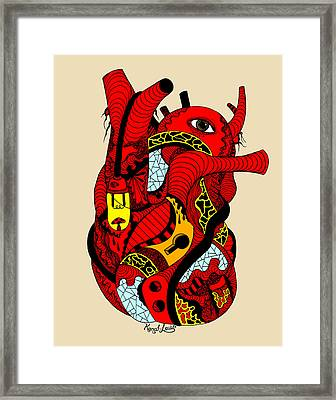 Red Heart Of Light Framed Print by Kenal Louis