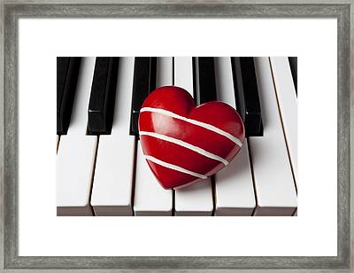 Red Heart With Stripes Framed Print by Garry Gay