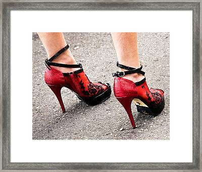 Red Heels Framed Print by Marion McCristall