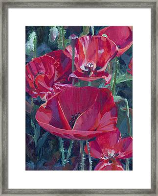 Red Hot Ladies Framed Print by Donna Barnes-Roberts