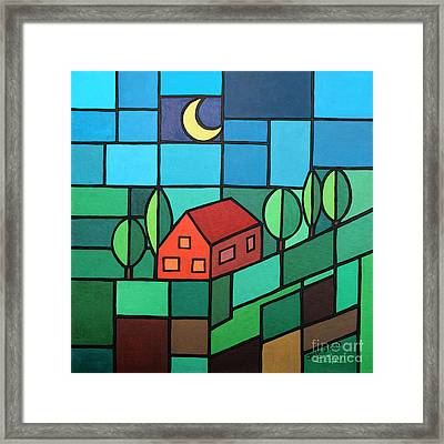 Red House Amidst The Greenery Framed Print by Jutta Maria Pusl