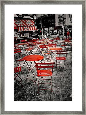Red In My World - New York City Framed Print by Angie Tirado