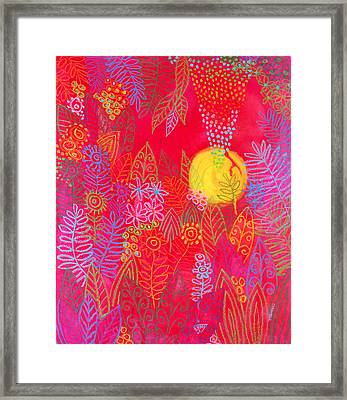 Red Jungle Passionate Sun Framed Print by Jennifer Baird
