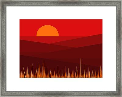 Red Landscape Framed Print by Val Arie