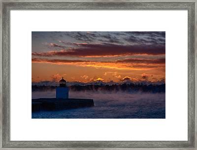 Red Light Of Derby Lighthouse Framed Print by Jeff Folger