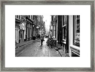 Red Light Street Mono Framed Print by John Rizzuto