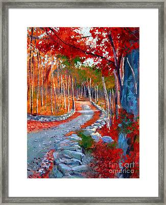 Red Maple Road Plein Aire Framed Print by David Lloyd Glover