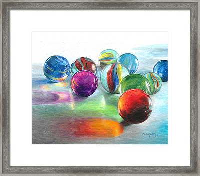 Red Marble Reflections Framed Print by Carla Kurt
