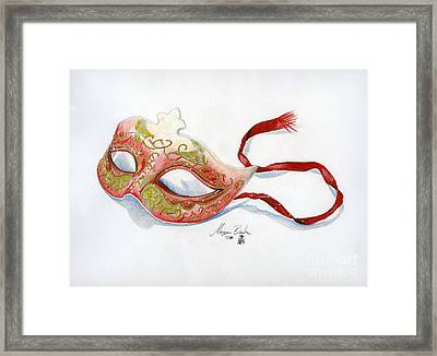 Red Mask Framed Print by Morgan Banks