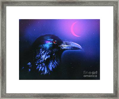 Red Moon Raven Framed Print by Robert Foster