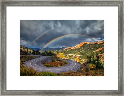Red Mountain Rainbow Framed Print by Darren  White