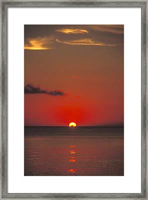 Red Orange Sunset On Horizon Framed Print by James Forte