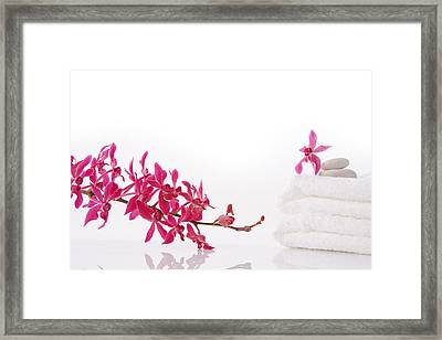 Red Orchid With Towel Framed Print by Atiketta Sangasaeng