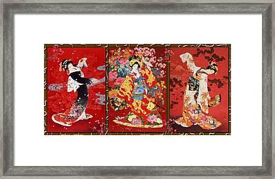 Red Oriental Trio Framed Print by Haruyo Morita