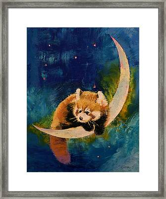 Red Panda Moon Framed Print by Michael Creese