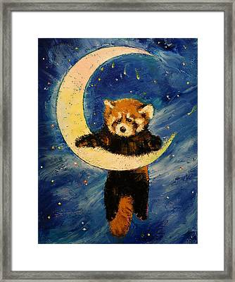 Red Panda Stars Framed Print by Michael Creese