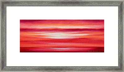 Red Panoramic Abstract Sunset Framed Print by Gina De Gorna