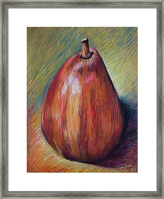 Red Pear Framed Print by Hillary Gross