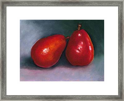 Red Pear Pair Framed Print by Joyce Geleynse