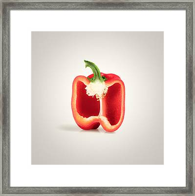 Red Pepper Cross-section Framed Print by Johan Swanepoel