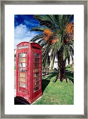 Red Phone Booth Bermuda Framed Print by George Oze