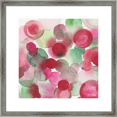 Red Pink Green Abstract Watercolor Framed Print by Beverly Brown