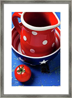 Red Pitcher And Tomato Framed Print by Garry Gay